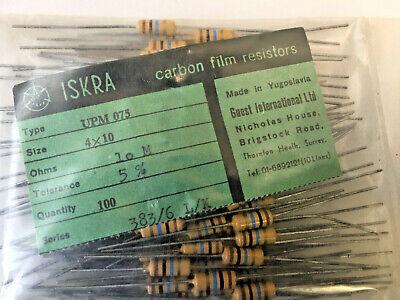 Lot Of 100 Iskra 10m Ohm Carbon Film Resistors 5 Resistor- 4 X 10 Mm- Upm 075