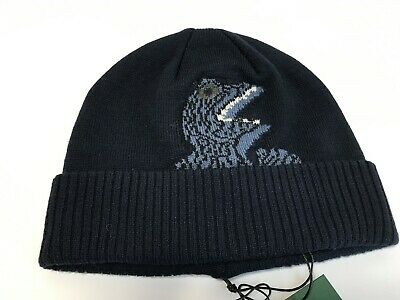 New Authentic PS Paul Smith Wool Knit 'Dino' Beanie Hat in Navy