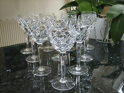 Waterford Crystal Wine Hock Glasses Kerry Pattern Signed x 10  Ex.Con Crystal Wine Hock