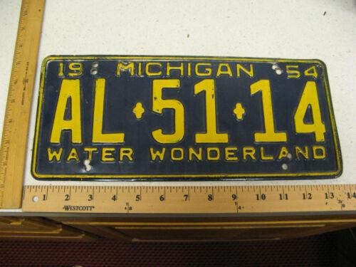 1954 54 MICHIGAN MI LICENSE PLATE TAG AL-5114