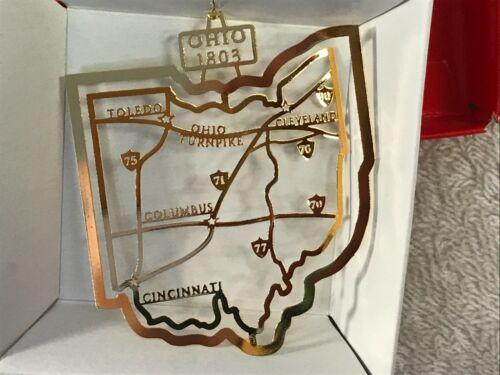 Christmas ornament 24k finish brass OHIO state EX6828