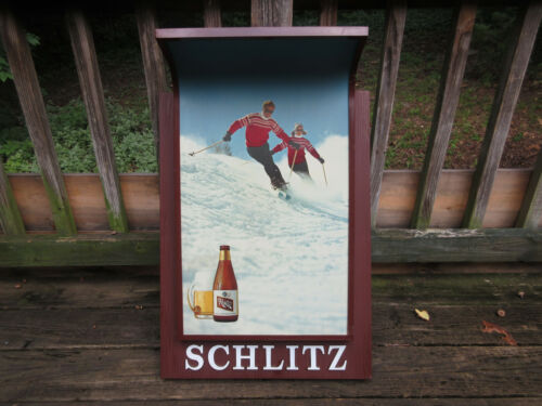 "Vintage Schlitz Beer Bar Wall Sign Light Skiers 36"" x 19"" Hanging Advertising"