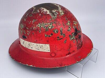 Vintage Msa Skullgard Full Brim Hard Hat - Miners Helmet - Red - Well Used