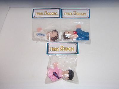 Vintage 3 THREE STOOGES Larry Curly & Moe FINGER PUPPET SET - Presents - 1991