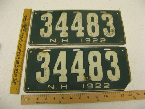 1922 22 NEW HAMPSHIRE NH LICENSE PLATE PAIR SET #34483
