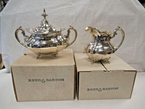 NOS Reed & Barton Sterling Hampton Court X662 & X663 Creamer & Sugar in Boxes