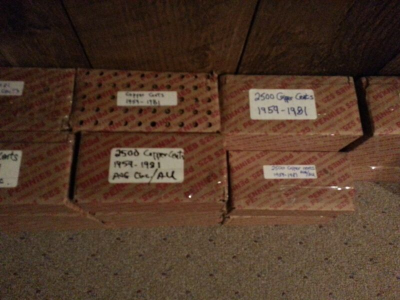 2-$25 Lincoln Cent boxes, all copper cents. 34 lbs of copper