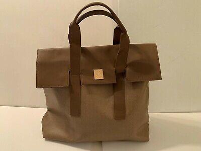 LARGE vinyl brown stylish purse handbag tote bag laptop work pocketbook  NEW