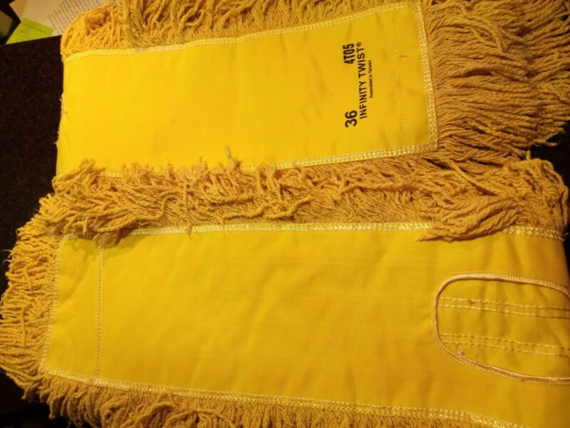 """Commercial Infinity Twist Dust Mop Push Broom Head 5x36"""" washable 2 pack"""