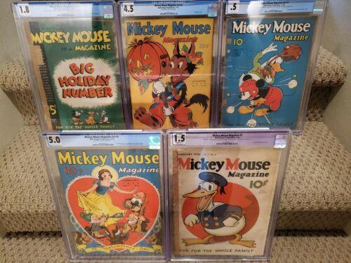 Mickey Mouse Magazine #5,v2 #2,#3,v3 #2,#5 2nd Donald + 1st Snow White Cover CGC