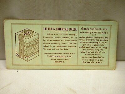 "Vintage Little'S Orientals Balm For Ache & Pain Advertise Sample Card Blotter""2"