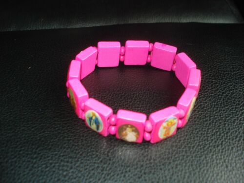 BEAUTIFUL PINK WOODEN BEADS HOLY SAINTS  STREATCHABLE BRACELET(USA SELLER)A1
