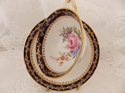 Royal Grafton Fine Bone China Tea Cup & Saucer White Black Trim Flowers England