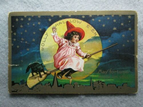Antique Jolly Halloween, Girl Riding Broom With Black Cat, Full Moon Postcard