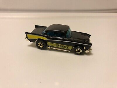 Hot wheels 57 Chevy Black with gold hot ones wheels 1982 release HK bass