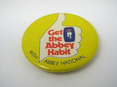 Vintage Collectible Pin Button  Get The Abbey Habit W  Abbey National Uk England