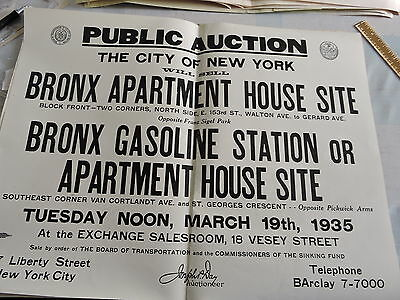 1935 Nyc New York City Bronx Real Estate Walton Ave  Auction 15X20 Poster