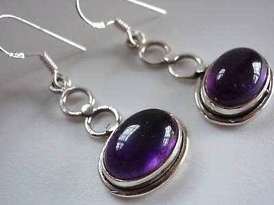 9ct Amethyst Ovals under Figure-8 925 Silver Earrings