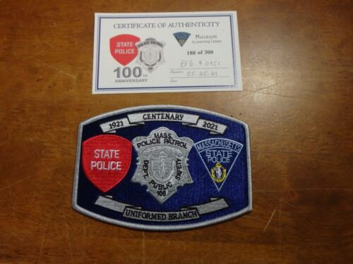 Massachusetts State Police Uniform Branch 100 yrs limited edition patch 188 COA