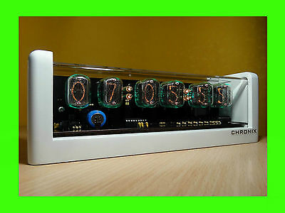 6xIN-12 Nixie Tubes Clock white case & green led & alarm steampunk retro watch