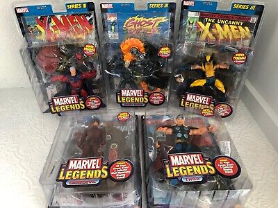 5 MARVEL LEGENDS Series 3 2002 MOC THOR MAGNETO WOLVERINE GHOST RIDER DAREDEVIL