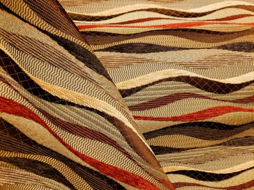 3 YDS GORGEOUS ROBERT ALLEN WAVE STRIPE BROWN TAN RED JACQUARD UPHOLSTERY FABRIC