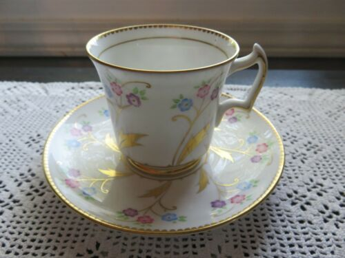 Vintage Royal Chelsea Bone China Tea Cup & Saucer Hand Painted Tiny Floral Gold