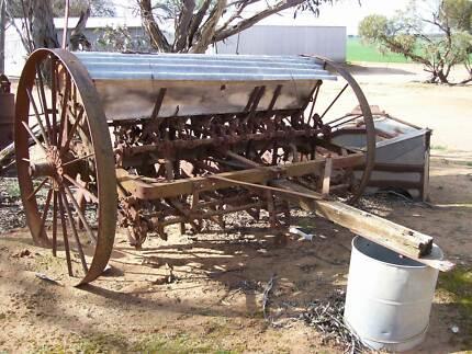 Massey Combine. Drill. 9 row. Working. Wagon wheels. Ornament Birchip Buloke Area Preview