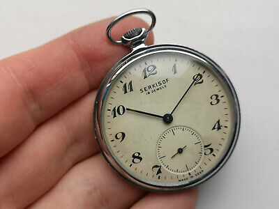 V RARE Ussr Pocket Watch Molnija EXPORT TURKEY SERKISOF TRAIN RAILROAD Serviced