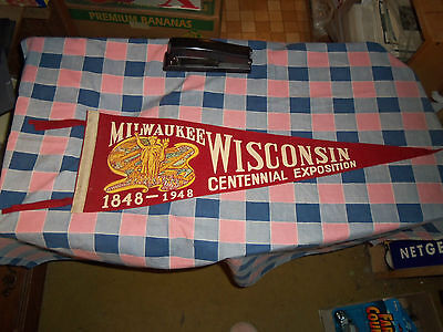 "Old Felt Pennant Milwaukee Wisconsin Centennial Exposition 26"" Long w/o Ties"