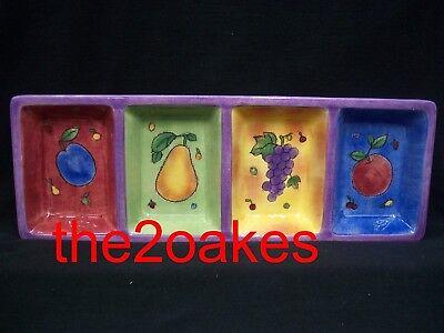 Sango SANGRIA 4 Part Divided Relish Tray Sue Zipkin 3075 Fruit Apple Grapes Pear