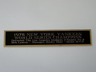1978 New York Yankees World Series Nameplate For A Baseball Bat Case 1.5 X 8