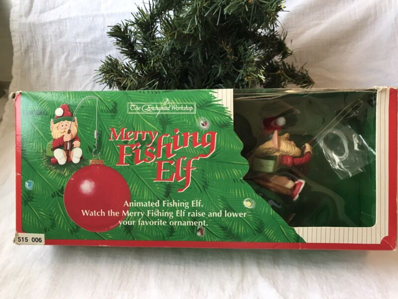 Vintage Fishing Elf Raises and Lowers Ornament The Enchanted Cottage circa 1992