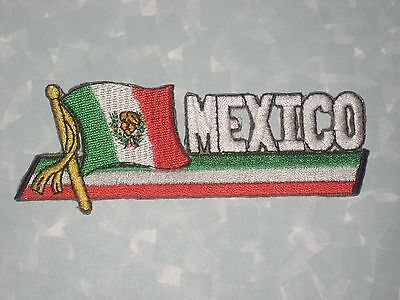 "Mexico Patch -  4 1/2"" x 1 1/2""   - Mexican Flag"