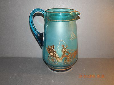 VINTAGE TURQUOISE GLASS JUG WITH GOLD CARRIAGES COACHES & HORSES LEMONADE (Coach Turquoise Glasses)