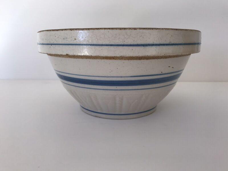"Vintage Mixing Bowl White Pottery Blue Bands Stripes Farmhouse Decor 8.5"""