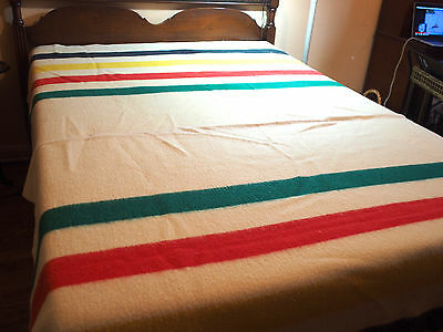 "Vtg Early's Witney Point 4 Point Wool Trappers Camp Blanket 72"" x 90"" England"