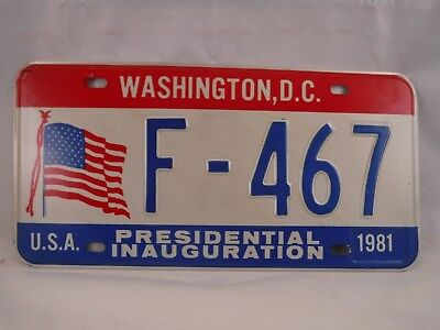 PRESIDENT REAGAN INAUGURATION DAY LICENSE PLATE 1981 WASHINGTON D.C. NEVER USED