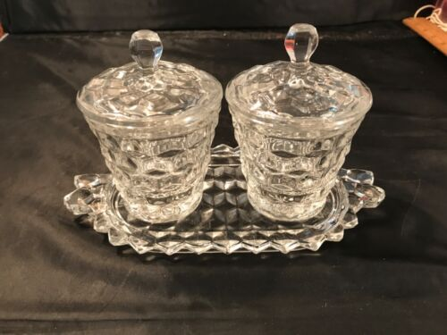 MID-CENTURY MODERN AMERICAN FOSTORIA GLASS 2 JAM POTS WITH UNDERPLATE EXCELLENT