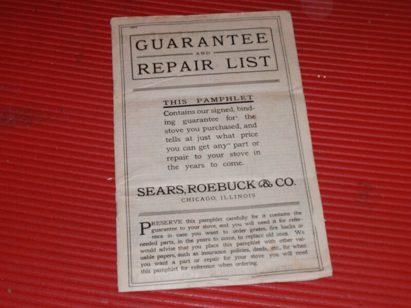 ANTIQUE PAMPHLET  SEARS AND ROEBUCK 1904 STOVE APPLIANCE PARTS AND REPAIR.