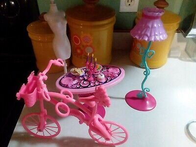 Mattel Barbie GLAM Dining Table, Lamp & Accessories X7942. Bike and dress form