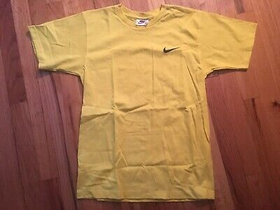 Nike Mens XS T Shirt Vintage Solid Plain Yellow Pure Cotton Free Shipping #36