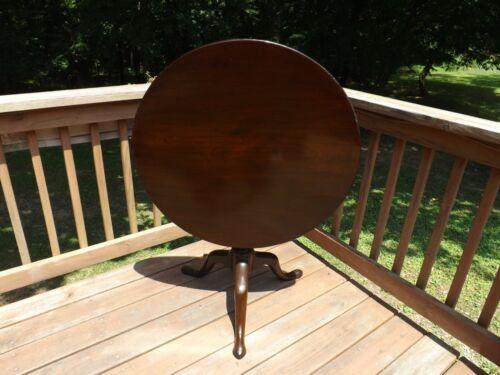 Early American 1750-1795 Tilt Top Table Birdcage Original Single Board Top