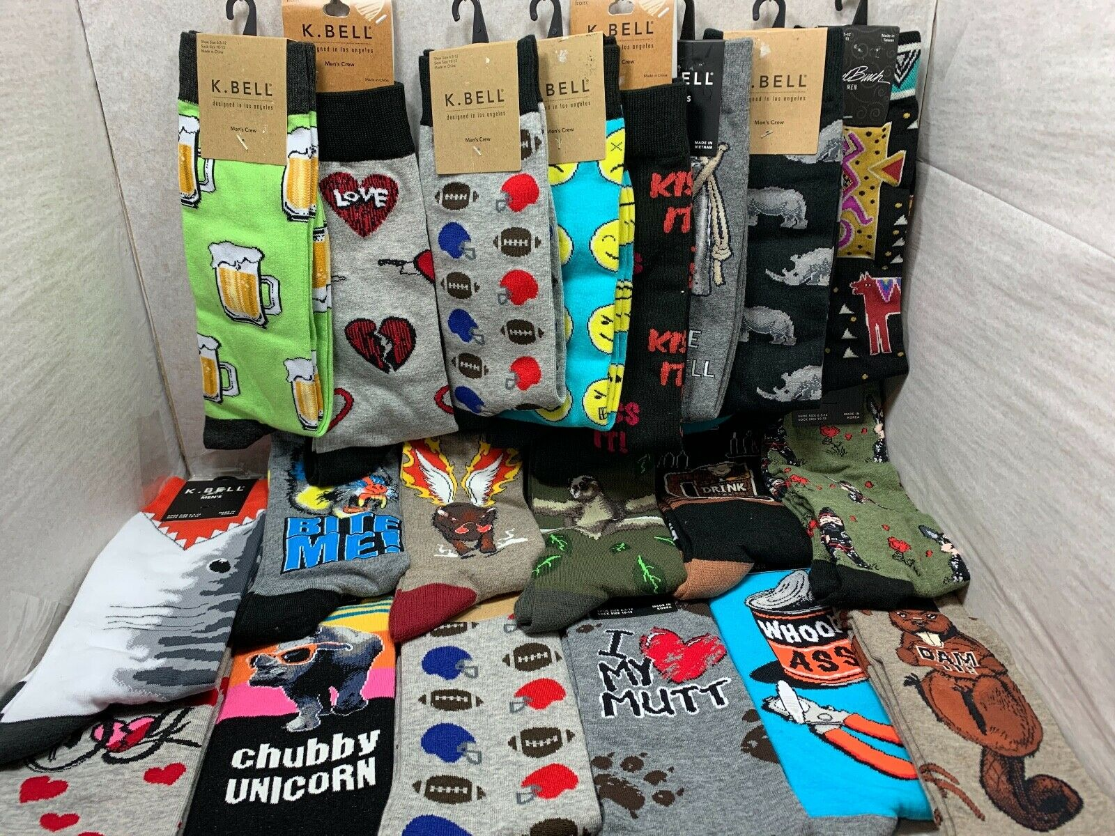 BRAND NEW PRINTED MEN CREW VALENTINES DAY GIFT IDEA FOR HIM FUN HOT SOCKS 10-13 Clothing, Shoes & Accessories
