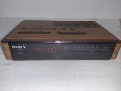 Vintage Sony Dream Machine Dual Alarm Clock Radio ICF-C400 Wood Grain VGC