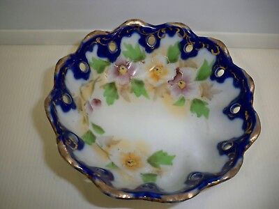 COBALT NIPPON CANDY DISH TRINKET BOWL FOOTED