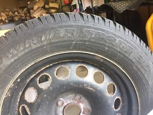 Dunlop 215/60R16 Winter Tires on Steel Rims