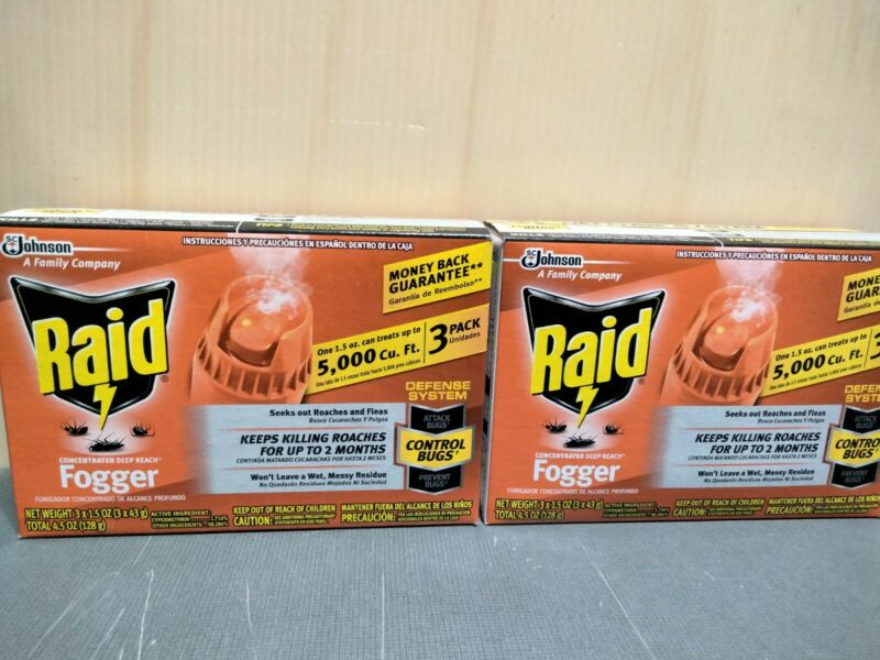 Raid Foggers Insect Bug Roach 3-Pack Fogger Concentrated Deep Reach 2 Box 6 Cans