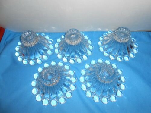 VTG BUBBLE RIM CANDLE HOLDERS BOOPIE BERWICK PATTERN BY ANCHOR HOCKING