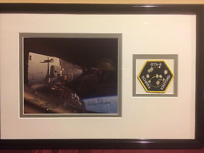 SCHIRRA/STAFFORD SIGNED GEMINI 6 PHOTO FRAMED w PATCH, FARTHEST REACHES LOS